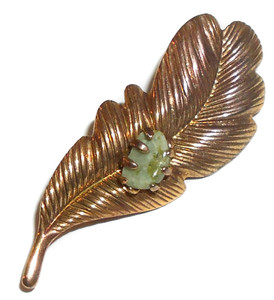 Antiqued Brass Vintage Leaf Brooch Pin with Prong Set Jade Green Stone