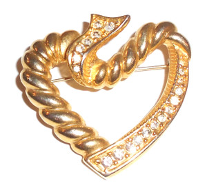 Vintage Gold Tone Heart Shaped Brooch with Rhinestones & Rope Twist Design