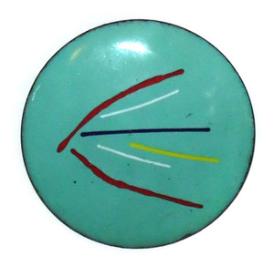 Vintage Mid-Century Modern Enameled Copper Abstract Brooch Pin