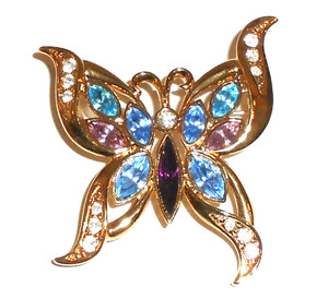 Vintage Unsigned Gold Tone Butterfly Brooch w/ Rhinestones