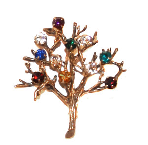 Vintage Signed Curtis Sterling Silver Vermeil Tree of Life Brooch Pin w/ Colored Rhinestones