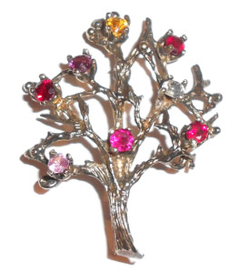 Vintage Sterling Silver Tree Shaped Brooch with Multi-Colored Rhinestones