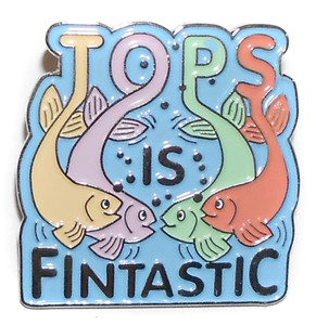 Tops is Fintastic Advertising Lapel Pin with Cartoon Fish
