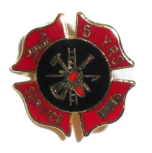 Vintage 5 Years Service Firefighter Fire Fighting Enameled Lapel Pin