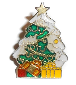 Vintage Decorated Christmas Tree with Snow & Presents Lapel Pin