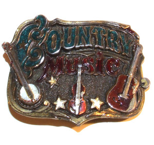 1982 Great American Buckle Co. Country Music Enameled Cast Belt Buckle