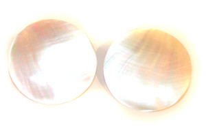 """1 5/8"""" Round Mother of Pearl Disc Vintage Pierced Back Earrings"""