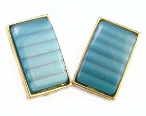 Blue Banded Moonglow Lucite Rectangle Earrings