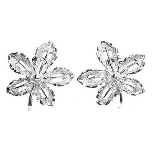 Bright Silver Tone Sarah Coventry Leaf Earrings