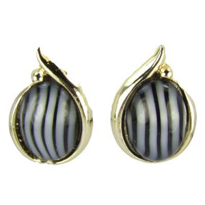 Gold Tone Black And Gray Striped Clip Back Earrings