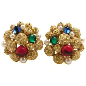 Golden Multi-Colored Cluster Button Earrings
