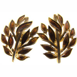 Imperial Gold Tone Enameled Branch With Leaves Clip Back Earrings