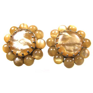 Iridescent Beaded Cabochon Clip Back Earrings
