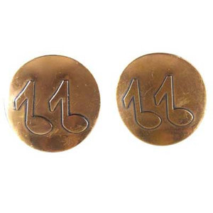 Large Copper Music Note Button Earrings