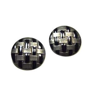 Large Round Woven Pewter Enameled Earrings
