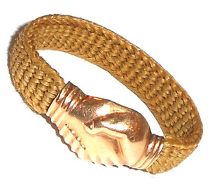 1835 Gold Regency Claddagh Mourning Ring Hair Braided Band - Size 10