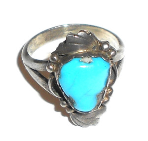 Vintage Navajo Sterling Silver & Turquoise Ring by Marvin Slim - Size 6 1/2
