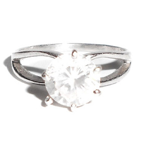 Vintage Solitaire Simulated Diamond Ring Sterling Silver