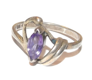 Vintage Sterling Silver Art Nouveau Ring w/ Marquis Cut Amethyst Stone - Size 7.5