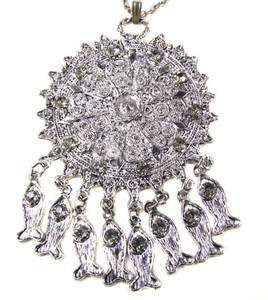 Antiqued Silver Articulated Fish Medallion Necklace