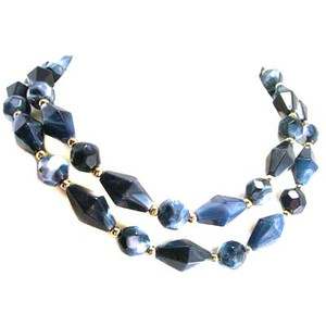 Blue & White Marbled Bead Strand Necklace