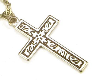 Celtic Inspired Antiqued Silver Cross Pendant Necklace