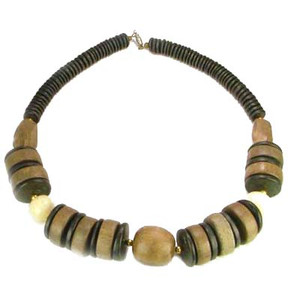 Chunky Carved Black Wooden Bead Necklace