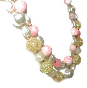 Double Strand Pink Yellow White Bead Necklace