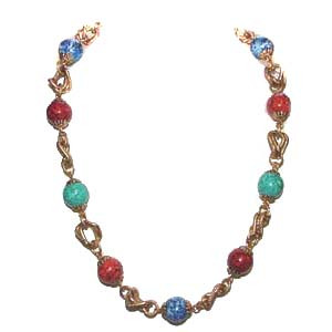 Faux Coral Turquoise Gold Tone Link Necklace