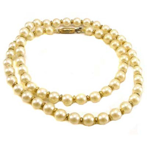 Faux Pearl Golden Accents Strand Choker Necklace