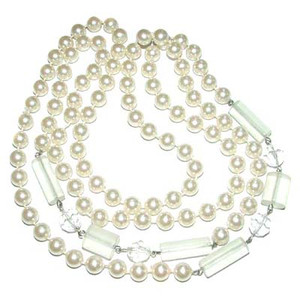 Faux Pearl Prystal 54 Inch Flapper Necklace