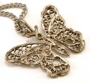 Filigree Silver Butterfly Necklace & Pendant