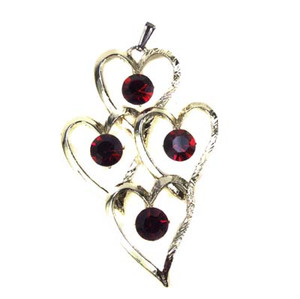 Golden Heart Cluster Red Rhinestone Necklace Pendant