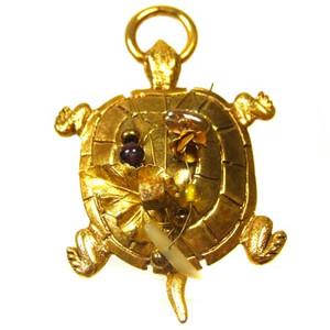 Large Figural Gold Turtle Pendant With Bead & Odarnments on Shell