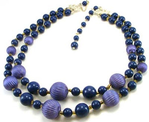 Lavender & Blue Double Strand Bead Necklace