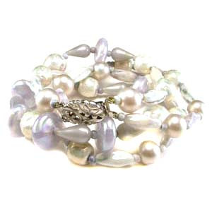 Lavender Pearlized Glass Bead Double Strand Necklace