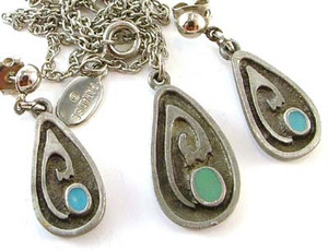 Modern Abstract Enameled Pewter Earrings Necklace Set