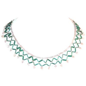 Mother of Pearl MOP Bead Fringe Collar Choker Necklace