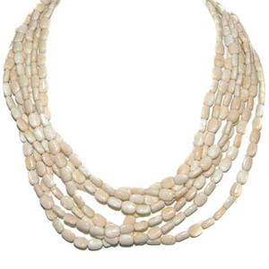 Multi-Strand Pale Agate Bead Necklace
