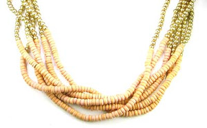Natural Wood and Gold Bead Multi Strand Necklace
