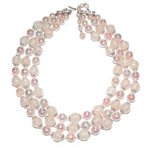 Pale Pink Triple Strand Japan Bead Necklace