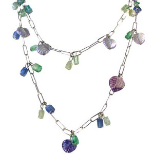 Pastel Glass Leaf Bead Silver Square Link Necklace