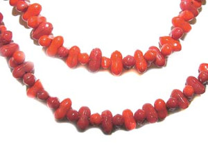 Shades of Red Glass Bead Double Strand Necklace