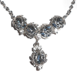 Stunning Blue Silver Rhinestone Necklace by Lind