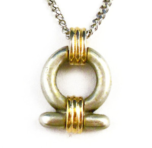 Unique Satin Finished Silver and Gold Tone Necklace and Pendant
