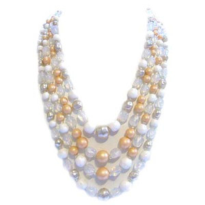 Vintage 50's Four Strand Peach White Gold Glass Bead Necklace