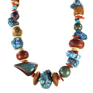Vintage Les Bernard Chunky Coral Turquoise Bead Necklace
