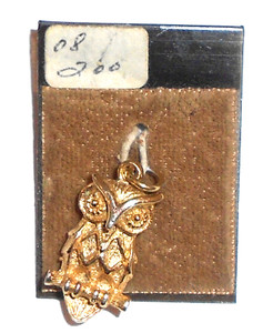 Retro Vintage Gold Tone Owl on Branch Necklace Pendant - NOS on Card