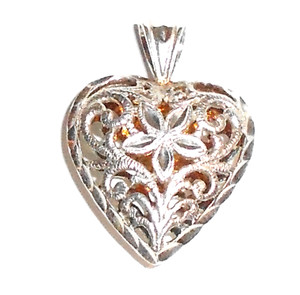 Vintage Pierced Sterling Silver Filigree Puffy Heart Shaped Necklace Pendant
