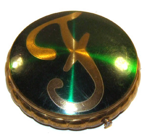 Antique Brass Powder Compact With Fluted Edge & Enameled Green Lid